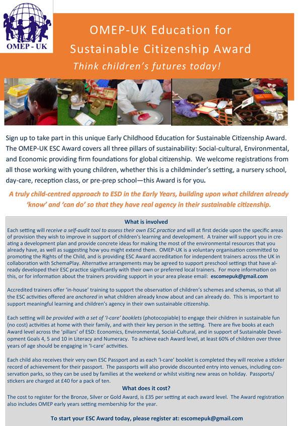 OMEP-UK Education for Sustainable Citizenship Award